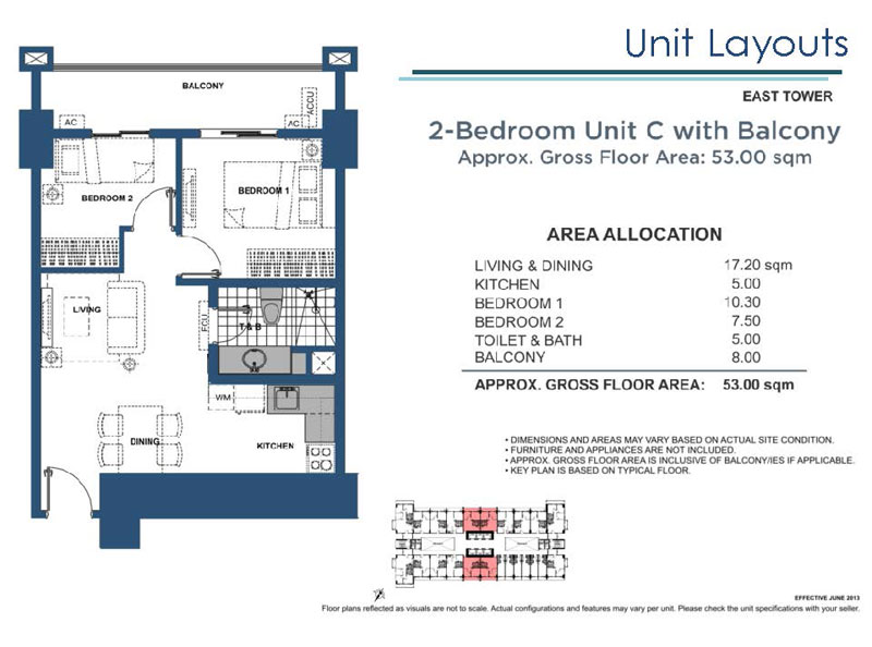 2 Bedroom C with Balcony East