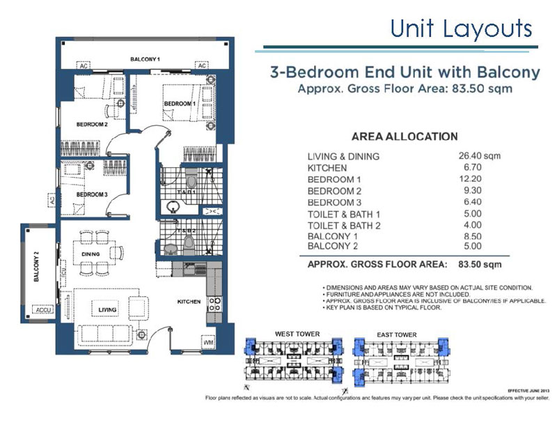 3 Bedroom End Unit with Balcony