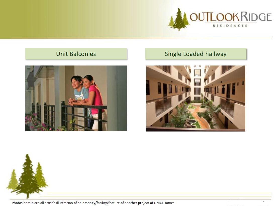Outlook Ridge Residences Unit Balconies Single loaded hallway