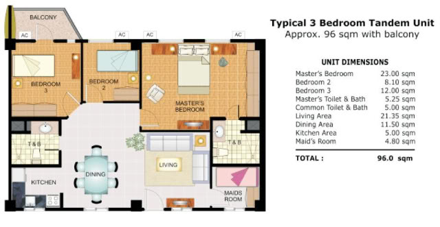 Cypress towers taguig dmci homes online for 3 bedroom unit designs
