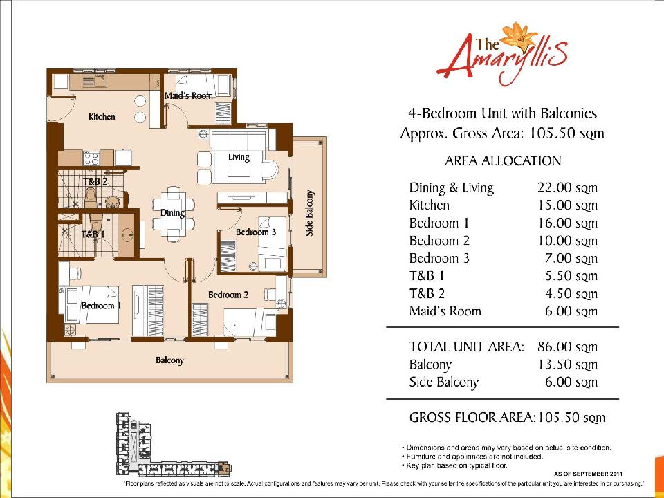 the amaryllis Unit Layouts And Computations 2 bedroom 105.5 sqm