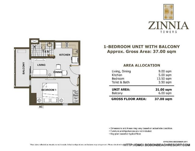 Zinnia Towers 1 Bedroom with Balcony Big