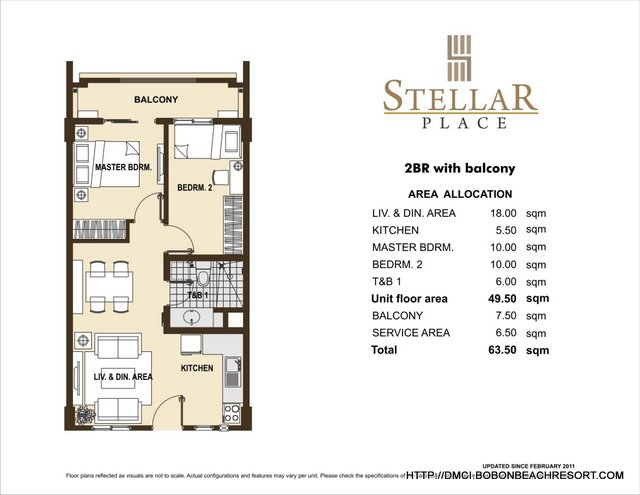 Stellar place quezon city dmci homes online for Two bedroom layout plan
