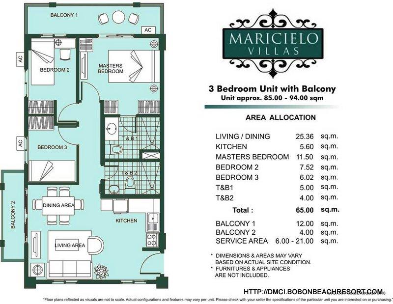 Maricielo villas las pinas dmci homes online for 3 bedroom unit designs