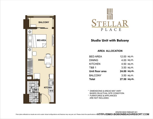 Stellar place quezon city dmci homes online for Studio apartment floor plans pdf