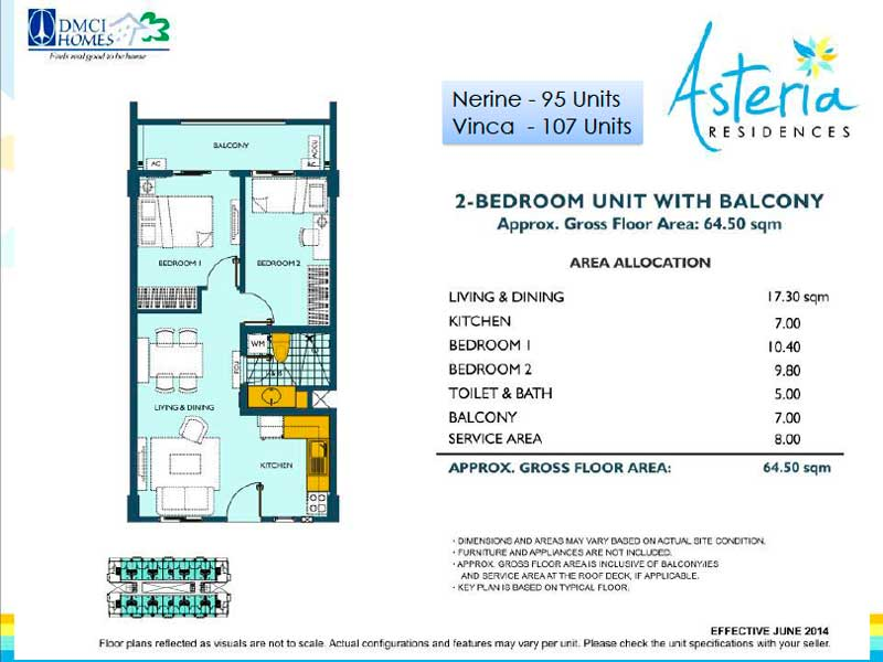 Asteria Residences 2 Bedroom Layout