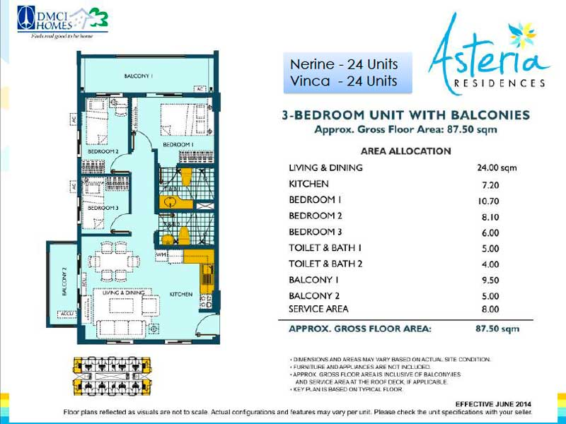 Asteria Residences 3 Bedroom Layout