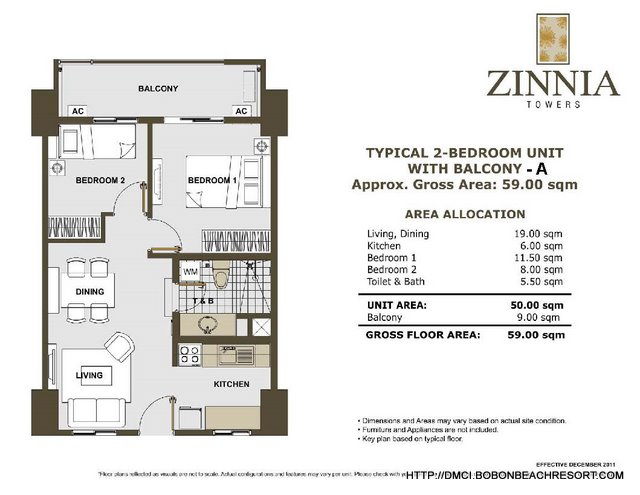 Zinnia Towers 2 Bedroom with Balcony A
