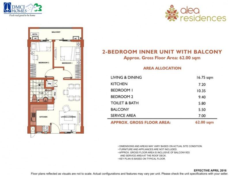 Alea Residences 2 Bedroom Layout